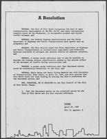 "Fort Worth city council resolution supporting ""depressed alternative"" to IH-30 intersection rebuild, April 27, 1982"