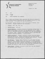 Memo from Tom Treadway to Jim Francis regarding house speakers endorsing William P. Clements, Jr., August 12, 1982