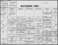 Calendar for William P. Clements, October 1982