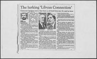 "Newspaper clipping headlined, ""The Lurking 'Libyan Connection,'"" August 10, 1986"