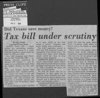 "Newspaper clipping headlined, ""Did Texans save money? Tax bill under scrutiny,"" January 4, 1980"