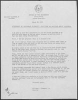 Draft letter regarding a Statement of Governor Clements' Position on Nuclear Waste Disposal, March 28, 1979