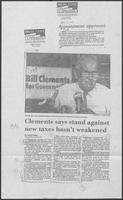 "Newspaper clipping headlined ""Clements says stand against new taxes hasn't weakened,"" August 19, 1986"