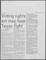 "Newspaper clipping headlined, ""Voting rights act may face Texas fight,"" August 28, 1982"