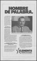 Spanish language campaign promotional brochure for Governor William P. Clements, Jr., 1982