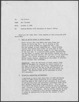 Memo from Dan Fleckman to Jim Francis regarding Pending Matters with Secretary of State's Office, October 6, 1982