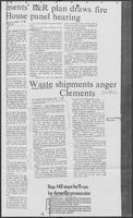 "Newspaper clipping headlined ""Waste shipments anger Clements,"" December 1, 1979"