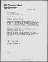 Letter from William P. Clements, Jr. to Doug Patterson regarding state licensing of private schools, August 13, 1986