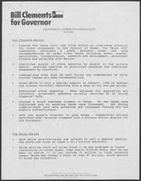 "Press release from Bill Clements for Governor titled ""Leadership/Integrity/Credibility: The Clements Record/The White record"", September 5, 1986"