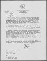 Letter from Mark White to Lieutenant Governor William P. Hobby, August 22, 1986