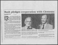 "Newspaper clipping headlined, ""Bush pledges cooperation with Clements,"" September 28, 1986"