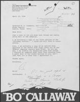 Letter from Bo Callaway to William P. Clements, Jr., April 22, 1980