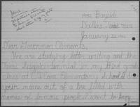 Correspondence between Roshanda Betts and William P. Clements, January 14-21, 1986