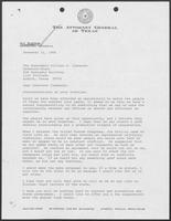 Letter from Jim Mattox (Attorney General of Texas) to William P. Clements, November 11, 1986
