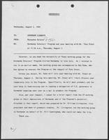 Memo from Rossanna Salazar to Governor William P. Clements, Jr., August 2, 1989