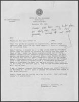 "Letter from William P. Clements regarding his calling Jimmy Carter a ""liar,"" 1980"