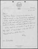 Memo from Hilary Doran to William P. Clements regarding Elton Bomer endorsement of Buddy Temple, April 22, 1982