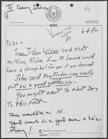 Memo from Hilary Doran to William P. Clements regarding Mr. King Fisher, June 6, 1982