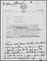 Memo from Jim Kaster to William P. Clements regarding Unemployment Tax Rate, July 12, 1982