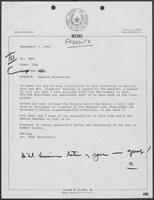 Memo from Allan Clark to William P. Clements regarding Mansion Renovation, September 3, 1980