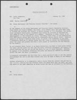 Memo from Martha Alworth to Tobin Armstrong and Pat Oles regarding State Employment and Training Council Chairman Jim Currey, January 25, 1982