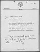 Memo from Bill Lauderback to Hillary Doran and Jim Francis regarding Mayor's Advisory Committee, August 31, 1982