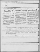 "Newspaper clipping headlined, ""Legality of Clements' action questioned,"" September 18, 1979"
