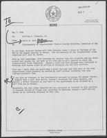 Memo from David Dean to William P. Clements Jr. regarding Chairmanship of International Trade and Foreign Relations Committee of NGA, May 7, 1980