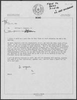 Memo from David Dean to William P. Clements Jr., July 21, 1981