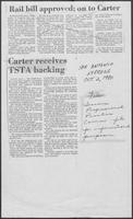 "Newspaper clipping headlined, ""Carter receives TSTA backing,"" October 2, 1980"