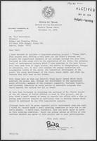 Letter from William P. Clements, Jr. to Paul Wrotenbery, November 12, 1979