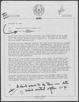 Memo from David A. Dean to William P. Clements, Jr., September 25, 1980