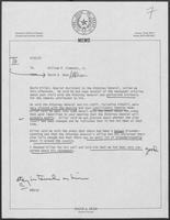 Memo from David A. Dean to William P. Clements, September 22, 1981