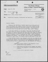 Memo from Brian Petty to William P. Clements regarding Congressional Awareness of NGA Natural Gas Resolution, August 18, 1982