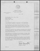 Letter from Governor William P. Clements, Jr. to Jack W. Evans, May 7, 1982