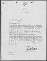 Letter from David A. Dean to Mark White, September 17, 1982