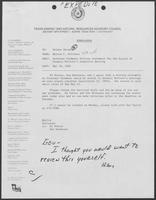 Memo from Milton Holloway to Hilary Doran regarding William P. Clements Jr. written statement for the record of Senator McClure's Committee hearing, May 10, 1982