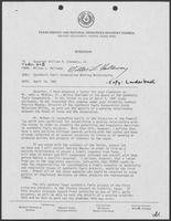 Memo from Milton Holloway to William P. Clements Jr. regarding synthetic fuels corporation working relationship, April 14, 1981