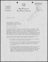 Letter from Ray Farabee to William P. Clements, Jr., November 11, 1986
