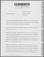 News Release from Clements for Governor regarding Panama Canal treaty, undated