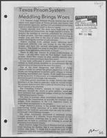 "Newspaper clipping headlined, ""Texas Prison System Meddling Brings Woes"", May 23, 1982"