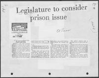 "Newspaper clipping headlined, ""Legislature to consider prison issue"", May 26, 1982"