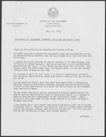 Statement of Governor Clements position on usury limit, May 10, 1979
