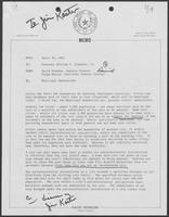 Memo from David Herndon and Paige Massey to William P. Clements, April 30, 1982