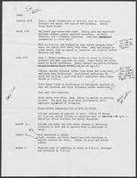 Timeline draft regarding Governor's Committee on Aging under Governor William P. Clements, Jr.