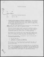 Memo from Doug Brown to William P. Clements, Jr. regarding State Affairs Division Operations, April 9, 1979