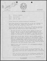Memo from Kay Woodward to Bill Clements, July 28, 1982