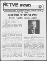 "Newsletter article titled ""Governor Speaks to Active — Expresses Support for Vocational Education,"" May 1979"