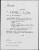 Memo from Thad T. Hutcheson to Peter O'Donnell et al regarding ballot security, April 15, 1982