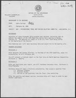 Memo from Eddie Aurispa to William P. Clements regarding NGA--International Trade and Foreign Relations Committee--Washington D.C., February 18,1982